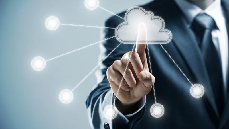 futuristic display: Cloud computing   touchscreen interface