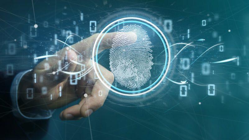 Businessman holding a Digital fingerprint identification and binary code 3d rendering -Credit Dreamstime